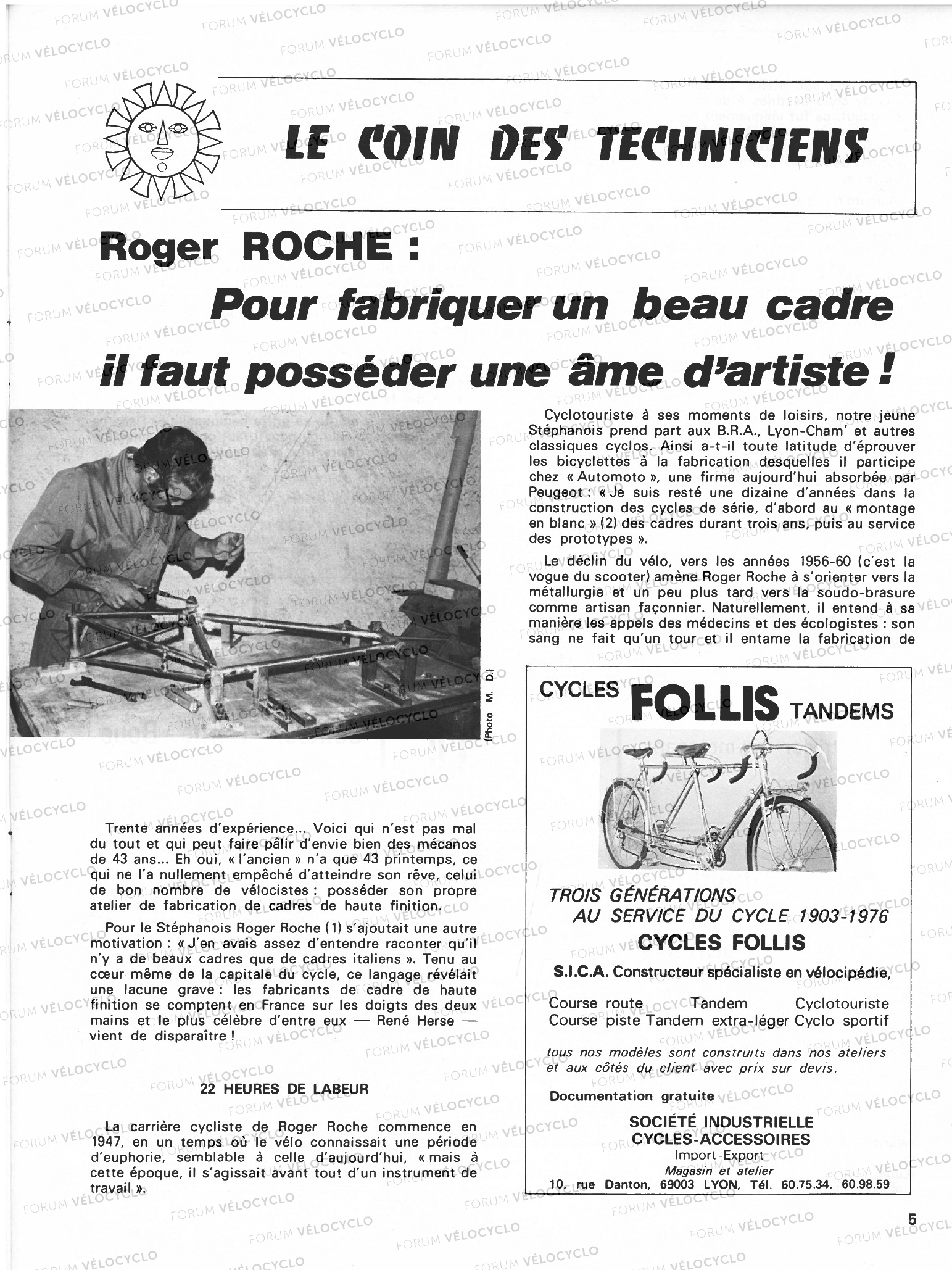 ARTICLE ROGER ROCHE CYCLO 2000 N289 DEC 1976 VELOCYCLO